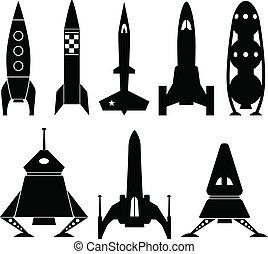 vecteur, rocketship, icônes