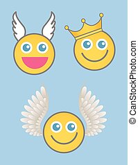 vecteur, roi, ange, cupidon, smiley