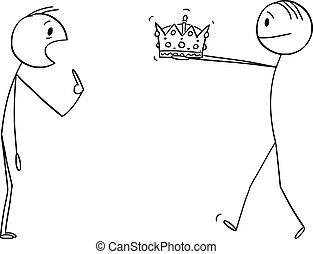 vecteur, roi, donner, homme, unbelieving, couronne, illustration, dessin animé