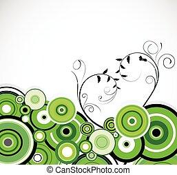 vecteur, romantique, arrière-plan., rings., vert, floral