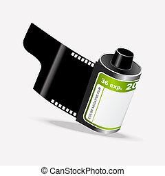 vecteur, rouleau cinématographique, appareil photo