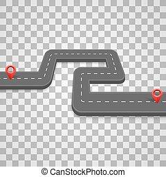 vecteur, route, illustration, fond, sentier, transparent, route, pavé