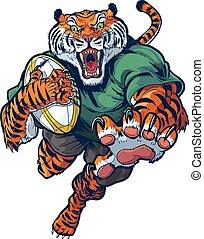 vecteur, rugby, dessin animé, tigre, mascotte