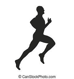 vecteur, runner., silhouette, isolé