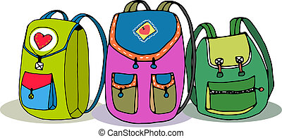 vecteur, sacs dos, trois, coloré, enfants