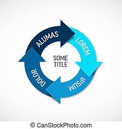 vecteur, schéma, cercle, infographic, cycle, vie, bleu, diagramme, /