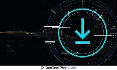 vecteur, sci-fi, technologie, fond, high-tech, icône, illustration, futuriste, technologie, innovation, téléchargement