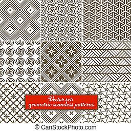 vecteur, set:, 9, géométrique, patterns., seamless