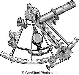vecteur, sextant, gravure, élevé, détail
