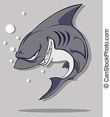 vecteur, shark.