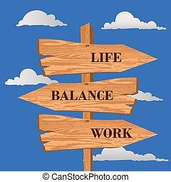 vecteur, signe, équilibre, vie, rue, illustration, travail, choix, concept