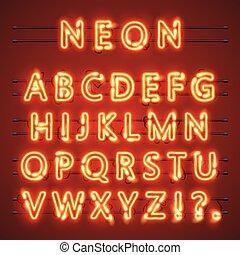 vecteur, signe., alphabet, text., lampe, illustration, néon, police