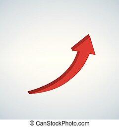 vecteur, signe, flèche ascendante, rouges