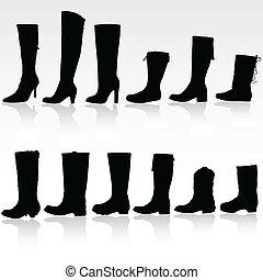 vecteur, silhouette, bottes