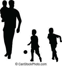 vecteur, silhouette, famille