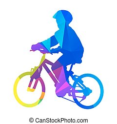vecteur, silhouette, gosse, bicycle.