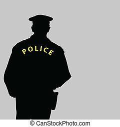 vecteur, silhouette, illustration, policier