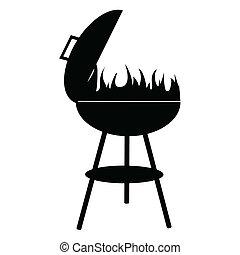 vecteur, silhouette, isolé, fond, blanc, barbecue