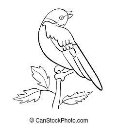 vecteur, silhouette, oiseau, branche, asseoir