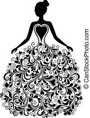 vecteur, silhouette, robe, beau