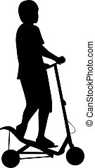vecteur, silhouette, spacescooter