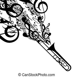 vecteur, silhouette, symboles, musical, trombone