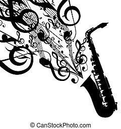 vecteur, silhouette, symboles, saxophone, musical