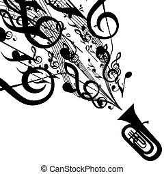 vecteur, silhouette, symboles, tuba, musical