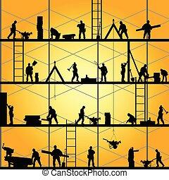 vecteur, silhouette, travail, ouvrier, illustration, construction