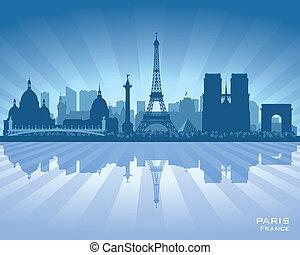 vecteur, silhouette, ville, paris france, horizon