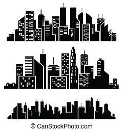 vecteur, silhouette, villes