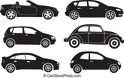 vecteur, silhouette, voitures
