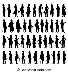 vecteur, silhouettes, hommes, suits., illustration