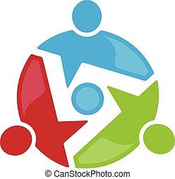 vecteur, simple, gens, concept, communauté, coloré, conception