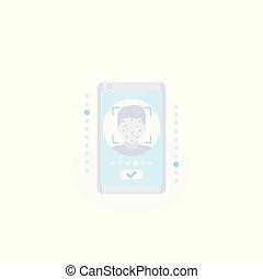 vecteur, smartphone, figure, icône, reconnaissance