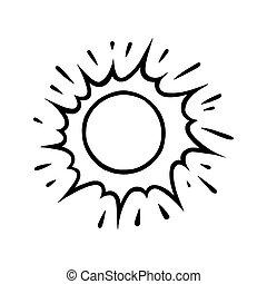 vecteur, soleil, blanc, handdrawn, briller, griffonnage, style., beams., illustration, noir