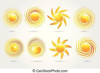 vecteur, soleil, image, ensemble, logo