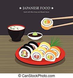 vecteur, soupe, japonaise, wasabi, rouleau, dessin animé, miso, sushi, sauce., illustration, nourriture, ensemble, traditionnel