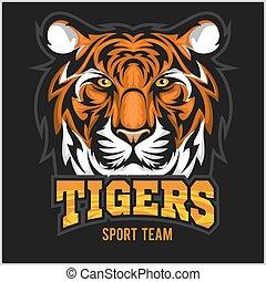 vecteur, sport, emblème, figure, tigre