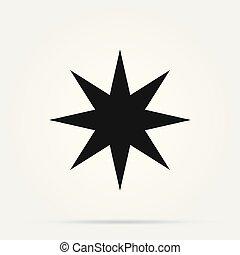 vecteur, star., conception, illustration, décoratif, arrière-plan., blanc, doré, tridimensionnel, hexagone, réaliste, six, icône, isolé, élément, pointu, facetté, 3d