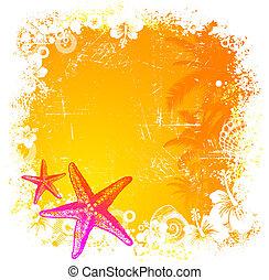 vecteur, starfishes, main, fond, dessiné, exotique