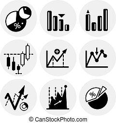 vecteur, statistiques, noir, icônes