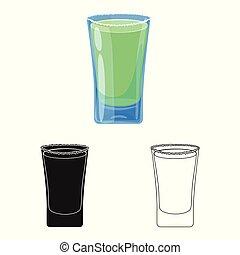 vecteur, stock., verre, clair, icône, isolé, ensemble, objet, symbole., eau