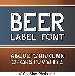 vecteur, style, font., bière, étiquette, vendange
