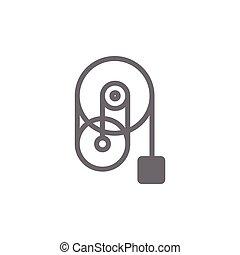vecteur, symbole, industriel, poulie, roue, machine