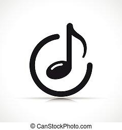 vecteur, symbole musique, note, icône