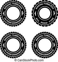 vecteur, symboles, performance, salut, pneu, radial, tubeless