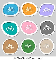 vecteur, symbols., vélo, multicolore, papier, stickers., icône