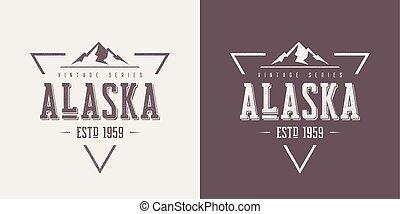 vecteur, t-shirt, alaska, habillement, textured, conception, vendange, état