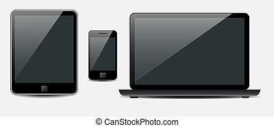 vecteur, tablette, mobile, ordinateur portable, téléphone, informatique